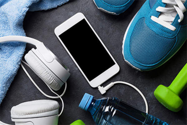 Work out gear and smartphone.