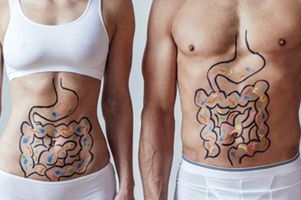 Gut health concept drawn on a man and a woman.