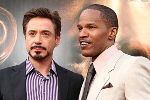 Actor Robert Downey Jr. and actor Jamie Foxx arrive at the premiere of Dreamworks Pictures' 'The Soloist' held at the Paramount Studios Theater.