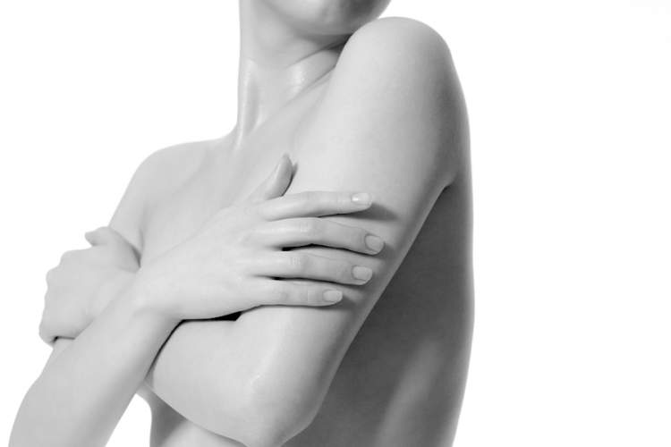black and white photo of woman's torso