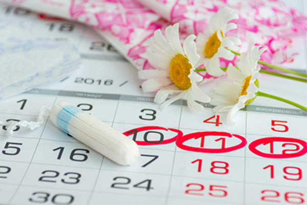 Menstrual cycle calendar and menstruation supplies.