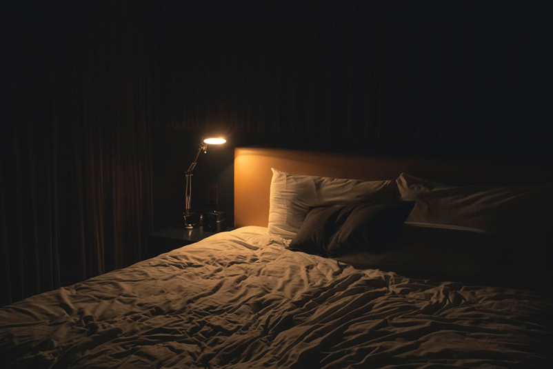 Bedroom at night.