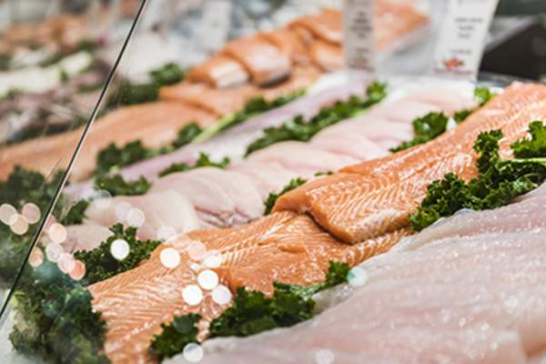 Seafood stand with cuts and filets of salmon and tuna