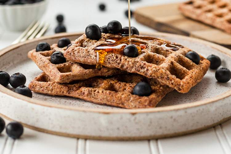 Whole wheat waffles with blueberries.