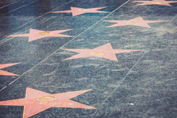 Hollywood stars on the Walk of Fame in Los Angeles