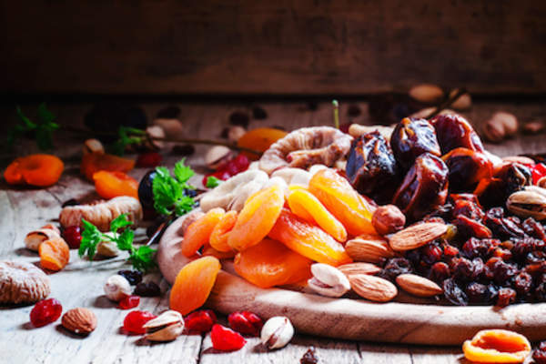 Dried apricots, dates, raisins and various nuts.