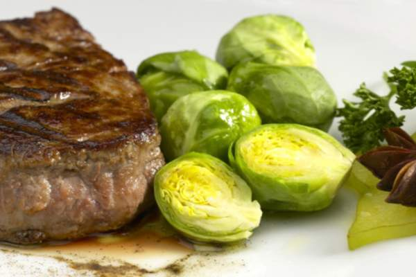Steak and brussel sprouts.