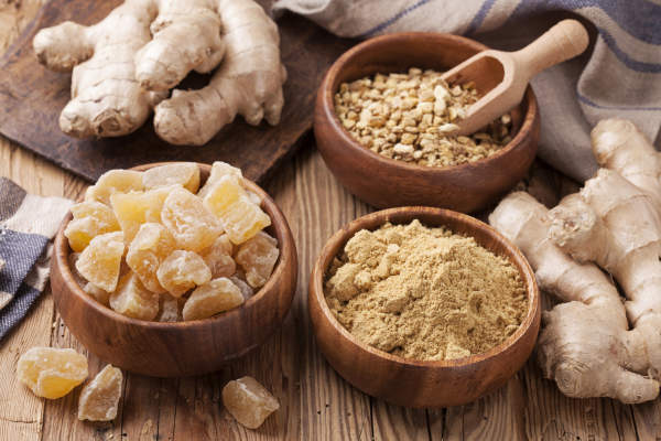 Ginger root in different forms.