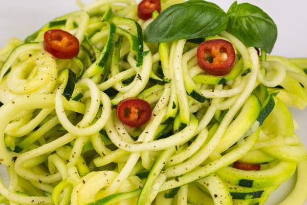 Zucchini noodles and vegetables.