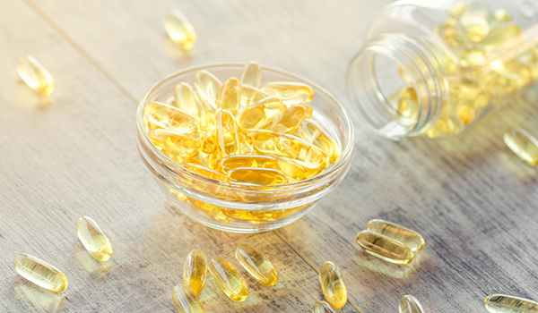 Fish oil omega-3 fatty acid supplements.