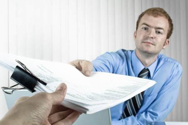 Handing documents to tax professional