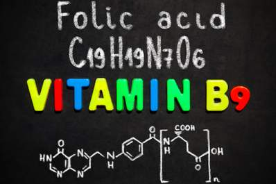 Folic acid(vitamin B6) chemical structure and formula written on blackboard.
