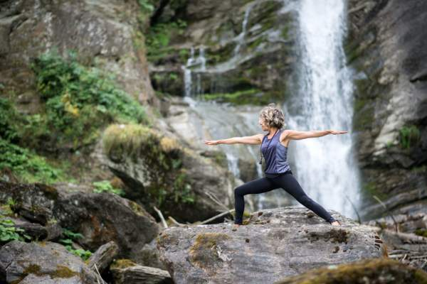 Yoga exercises in nature: Warrior 2 Pose