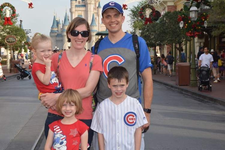 Annie, her husband Sven, and their kids Calvin, Evelyn, and Sylvia. Annie began seeing signs of colorectal cancer, like blood in her stool, about a month after this family vacation to Disney World.