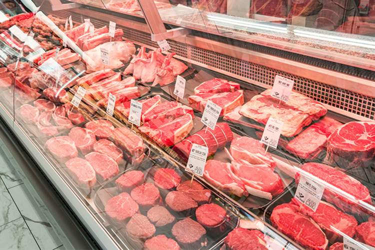 Red meat in grocery store case.