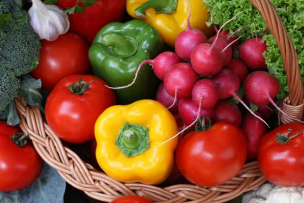 Brightly colored fresh vegetables.