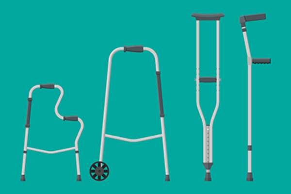 Different types of mobility aids.