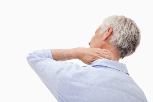 Senior man having a neck pain