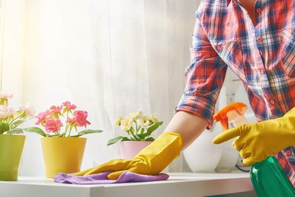 woman cleaning image