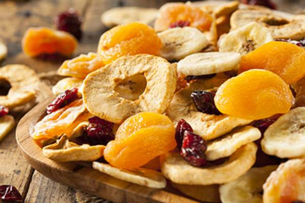 Assorted dried fruits.