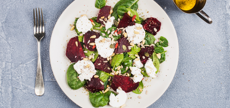 Roasted Beets, Greens, and Goat Cheese Salad