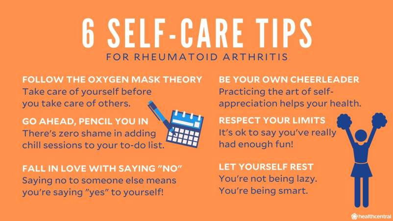 Self-care tips for rheumatoid arthritis, oxygen mask theory, relax, have fun, rest, say no