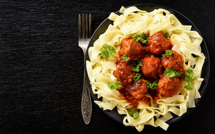 Turkey meatballs over gluten-free pasta