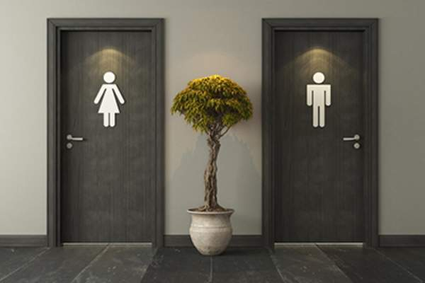 Black restroom doors for male and female