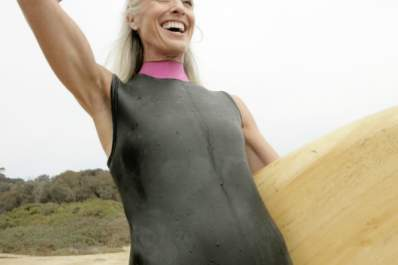 woman happy surfing
