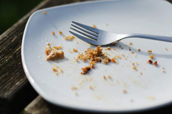 Crumbs on a plate.