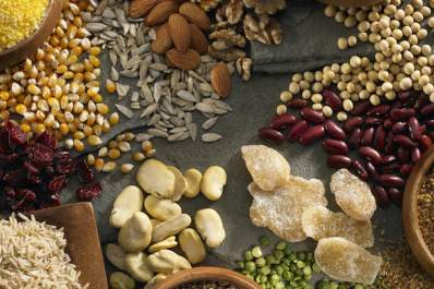 A collection of nuts, beans, and other gluten-free foods.