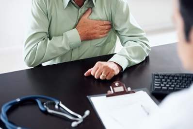 Man visits his doctor for chest pain.