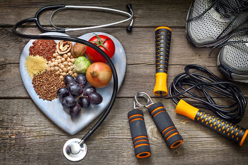 Heart-healthy foods and fitness equipment.