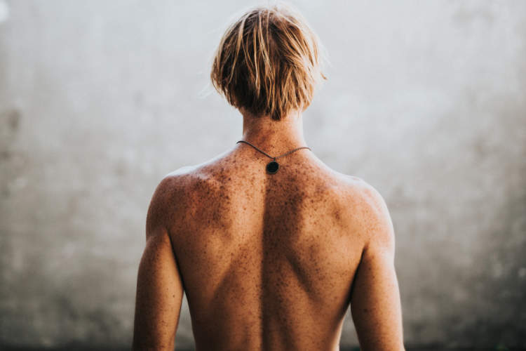 man's bare back