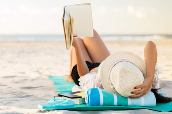 Reading on beach.