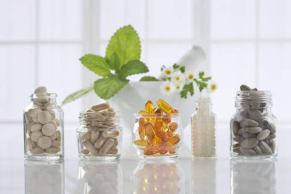 Supplements in glass jars
