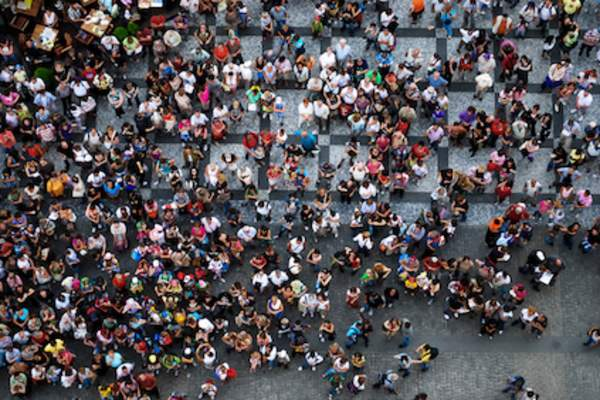 Slice of population, people gathered in square