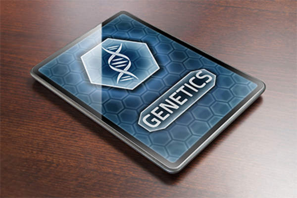 Genetics on electronic tablet.