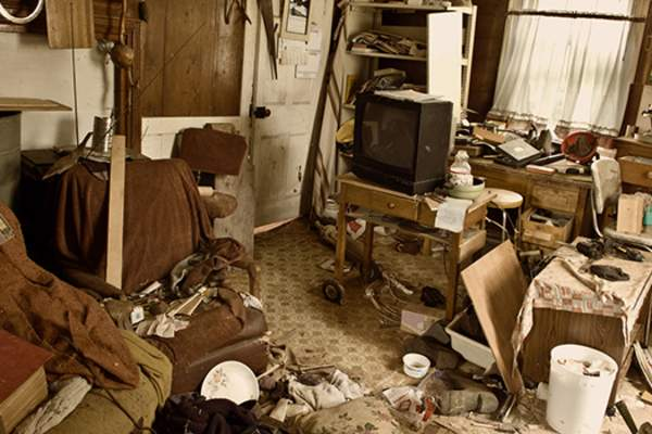 Cluttered room of a hoarder.