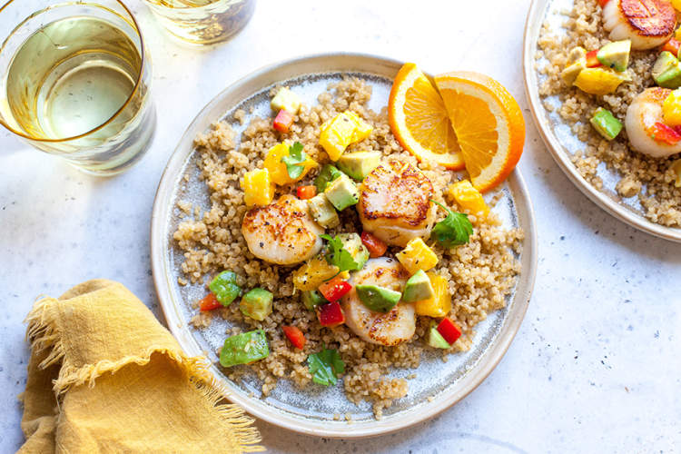 Seared Scallops With Avocado-Citrus Salsa