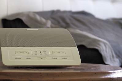White noise machine by bed, 'pink noise' may be better