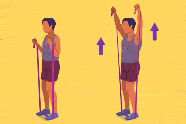 Resistance-Band Shoulder Press exercise illustration