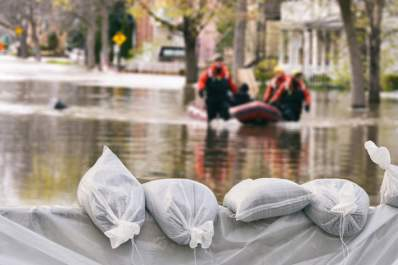 Emergency works helping people leave their flooded homes.