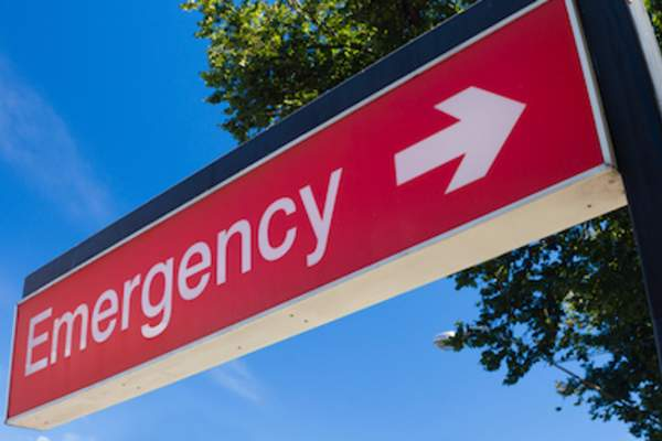 Emergency sign outside of hospital.
