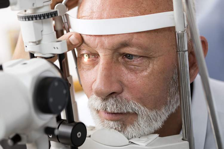 Man undergoing eye exam for glaucoma.