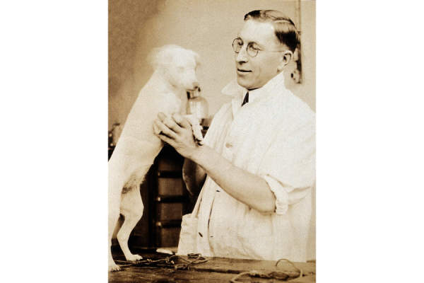 Frederick Banting with dog