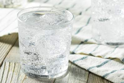 Glass of ice water.