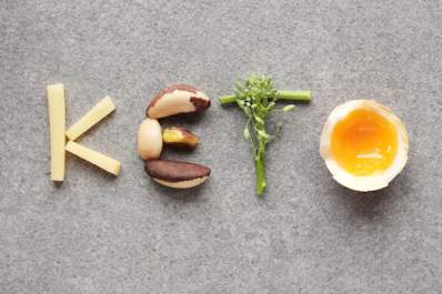 "The word ""KETO"" spelled out with ketogenic diet foods."