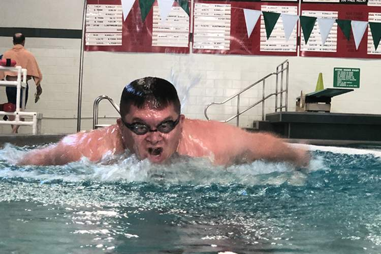 Adam Leeper swimming