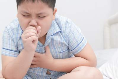 Overweight boy with asthma.